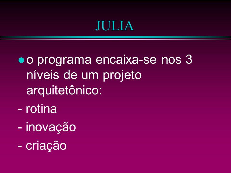 JULIA o programa encaixa-se nos 3 níveis de um projeto arquitetônico: