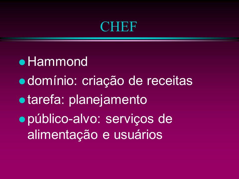CHEF Hammond domínio: criação de receitas tarefa: planejamento