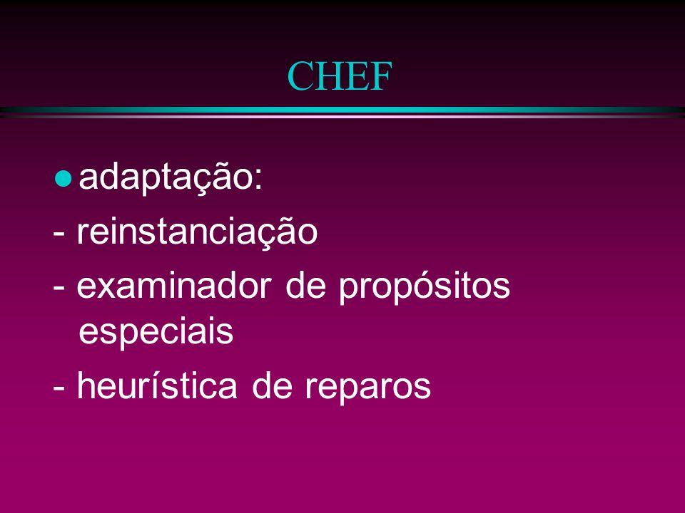 CHEF adaptação: - reinstanciação - examinador de propósitos especiais