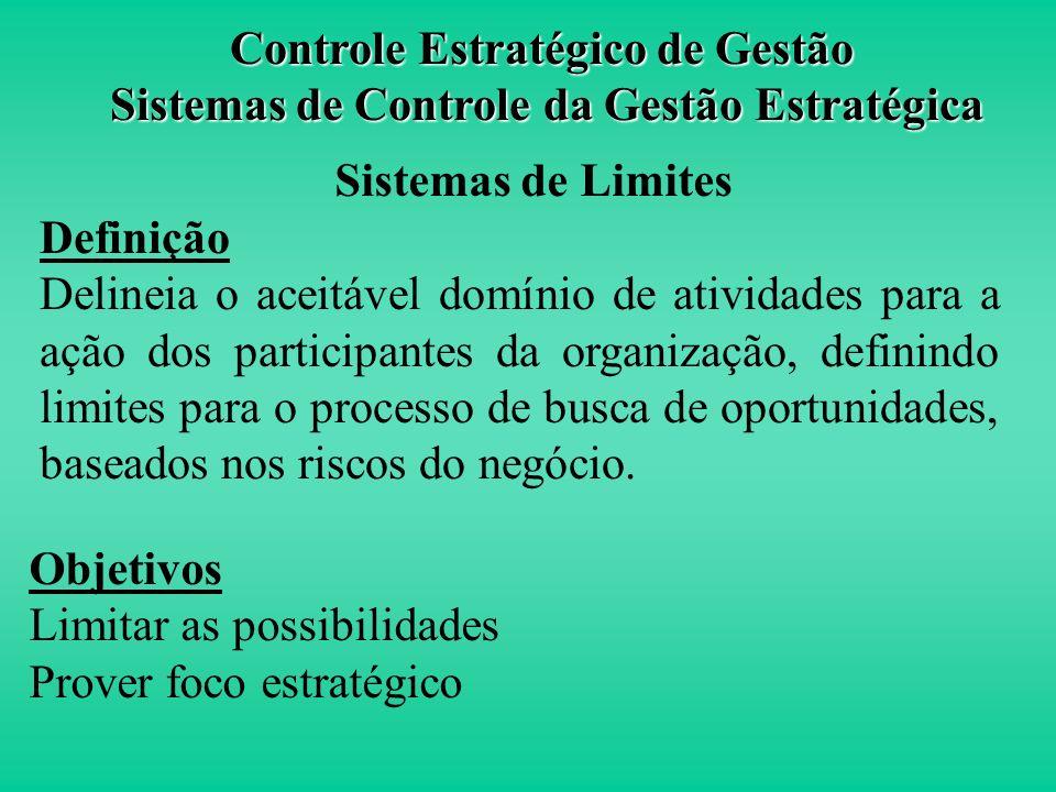 Controle Estratégico de Gestão Sistemas de Controle da Gestão Estratégica