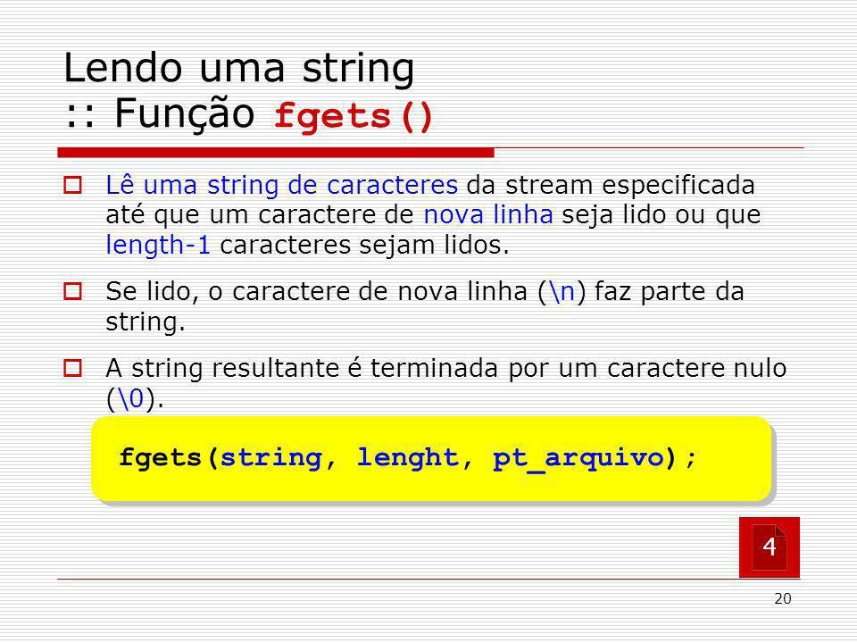 Lendo uma string :: Função fgets()