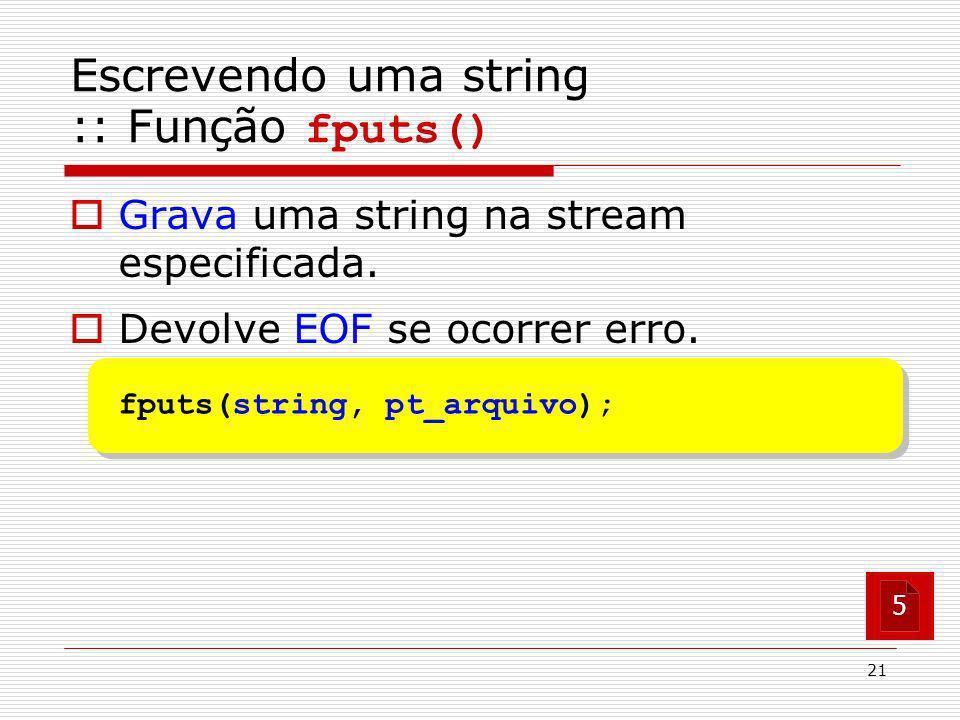 Escrevendo uma string :: Função fputs()