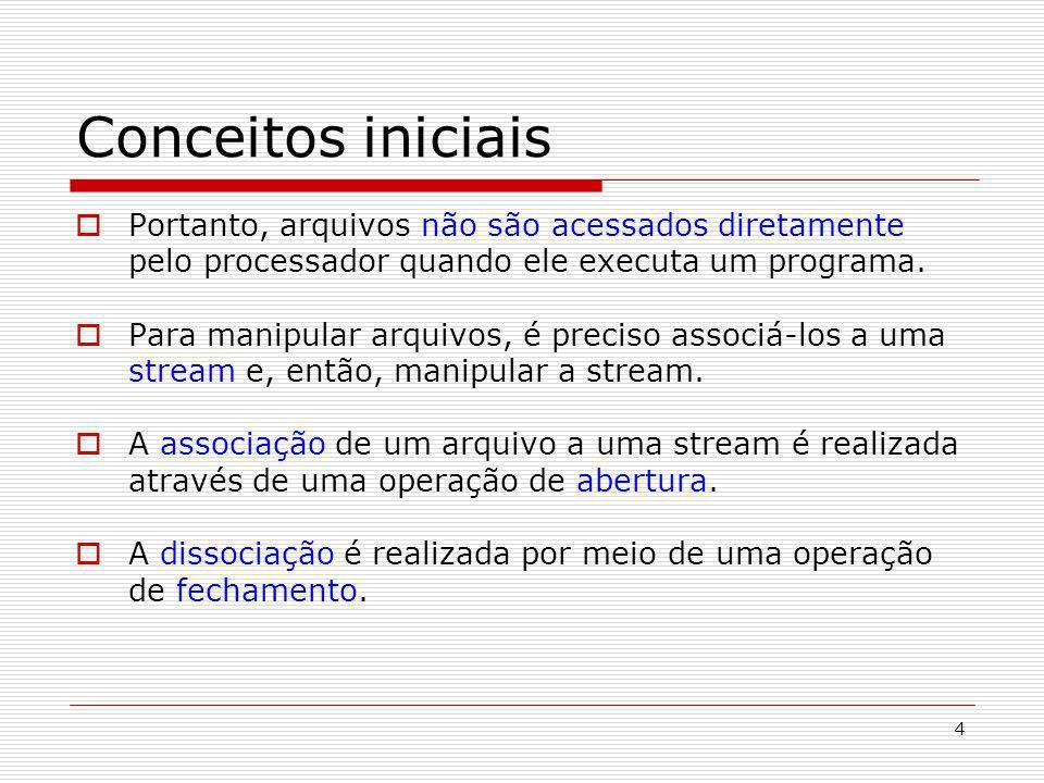Conceitos iniciais Portanto, arquivos não são acessados diretamente pelo processador quando ele executa um programa.