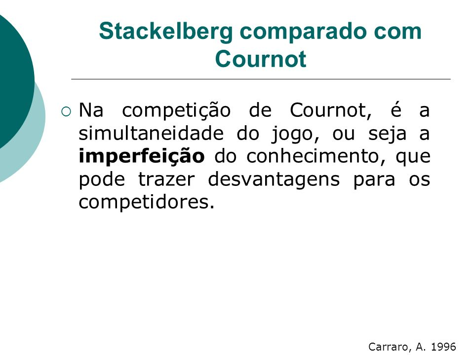 Stackelberg comparado com Cournot