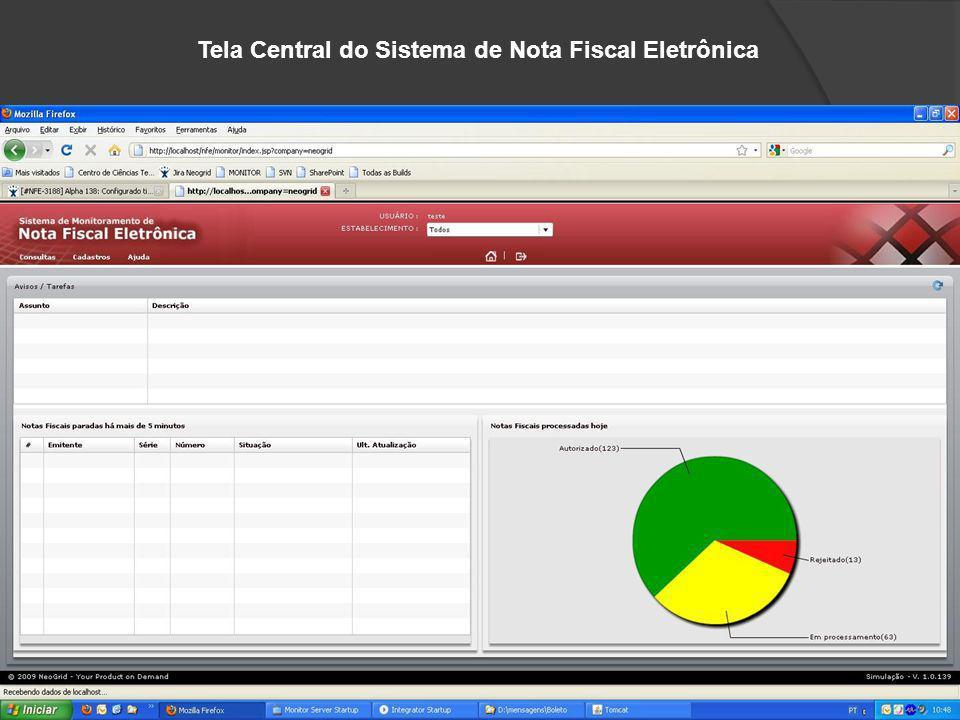 Tela Central do Sistema de Nota Fiscal Eletrônica