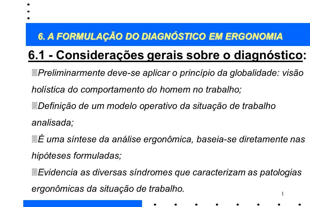 6.1 - Considerações gerais sobre o diagnóstico: