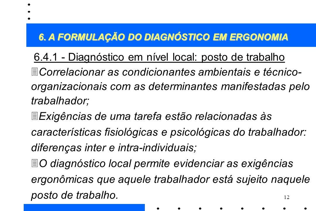 6.4.1 - Diagnóstico em nível local: posto de trabalho