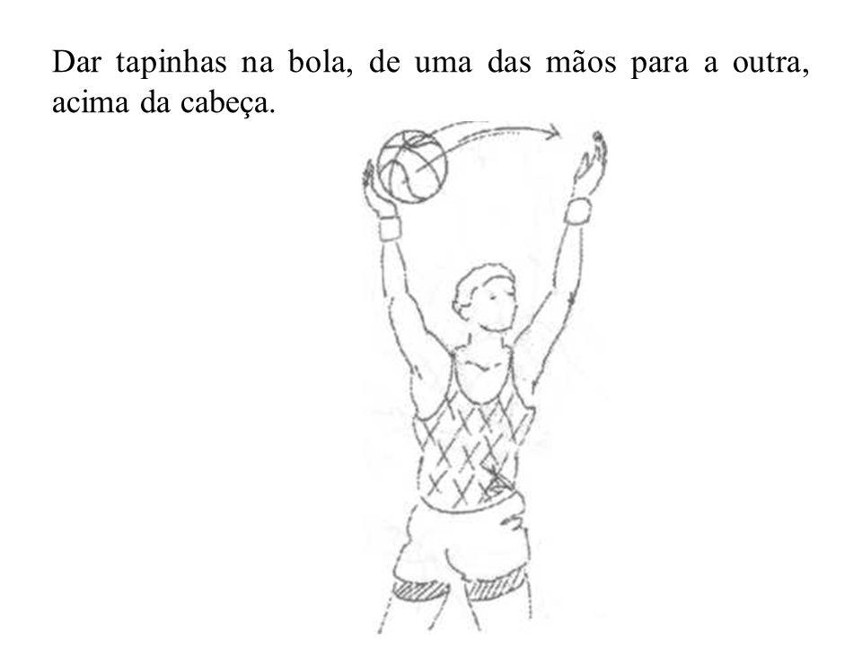 Dar tapinhas na bola, de uma das mãos para a outra, acima da cabeça.