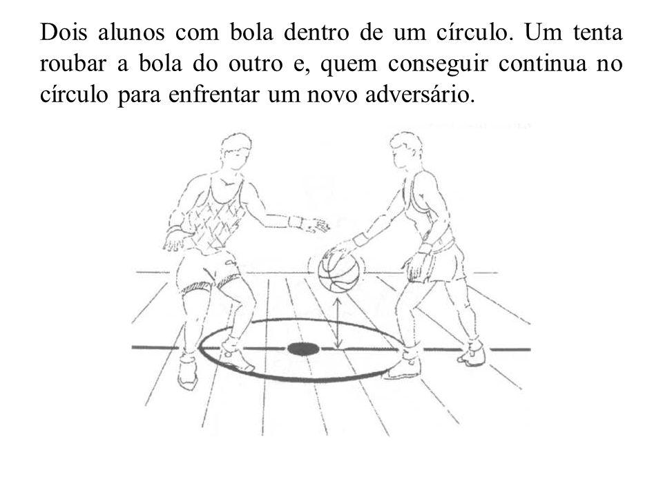 Dois alunos com bola dentro de um círculo