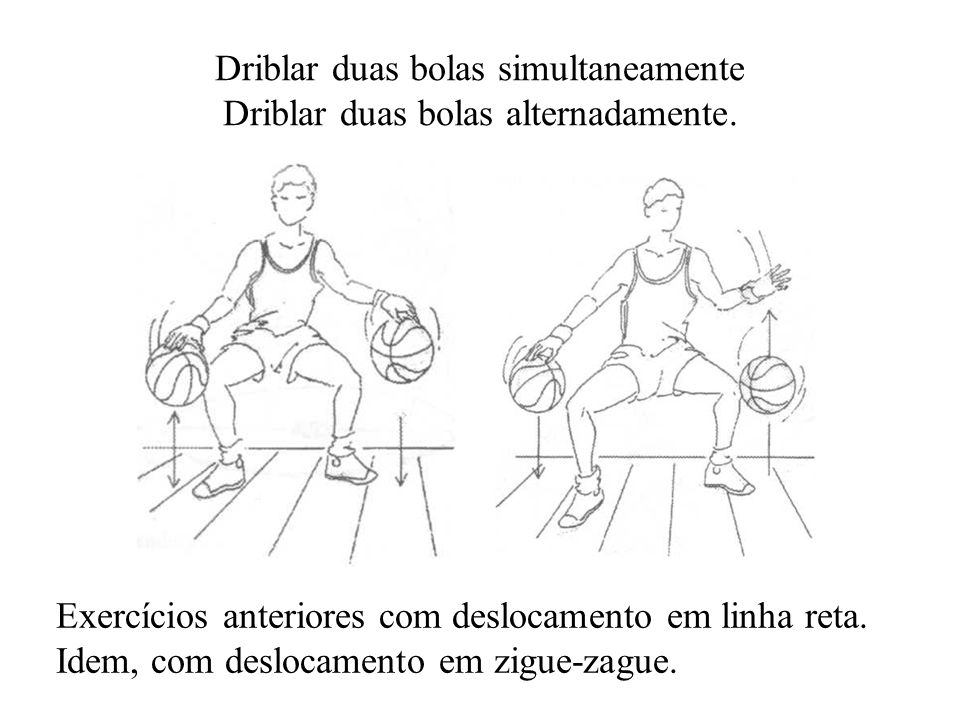 Driblar duas bolas simultaneamente Driblar duas bolas alternadamente.