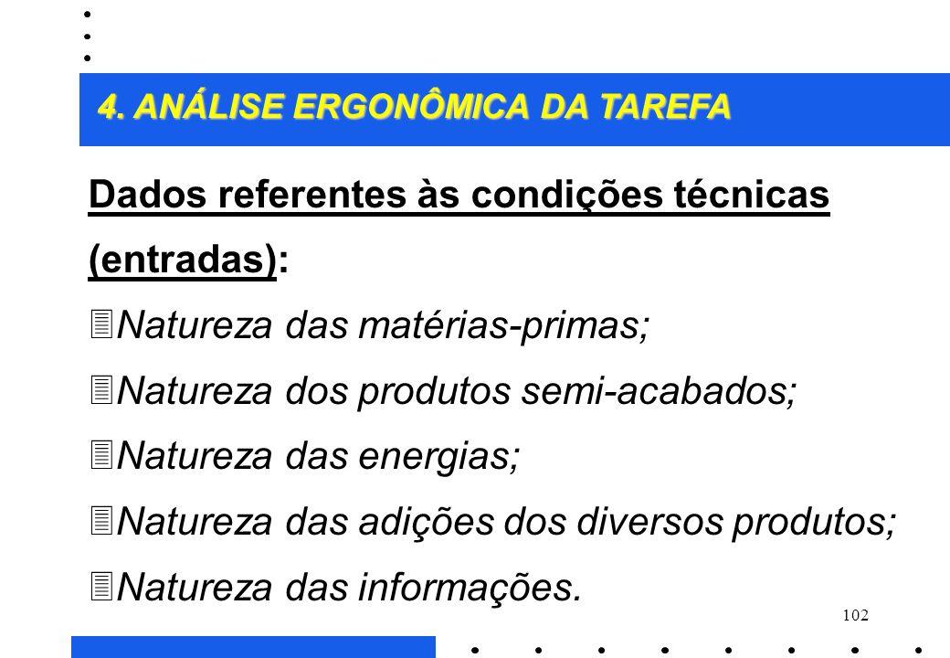 Dados referentes às condições técnicas (entradas):