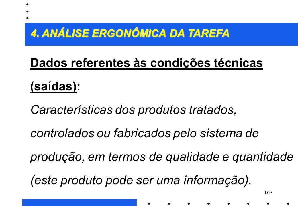 Dados referentes às condições técnicas (saídas):