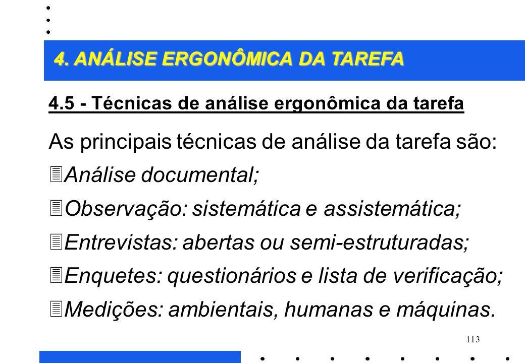As principais técnicas de análise da tarefa são: Análise documental;