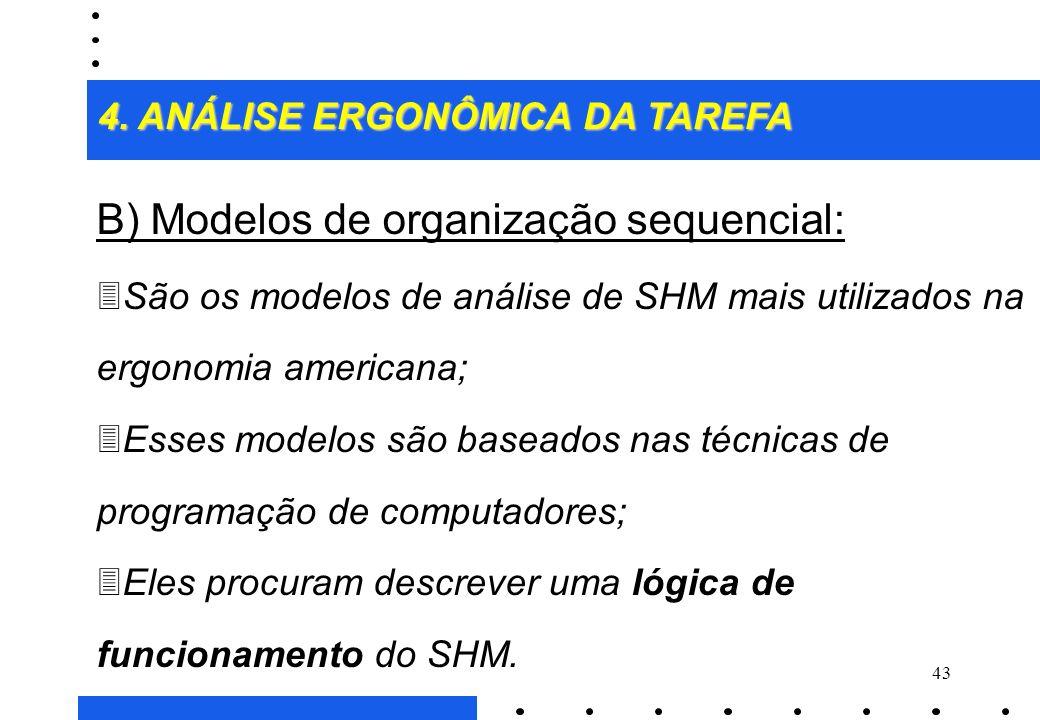 B) Modelos de organização sequencial: