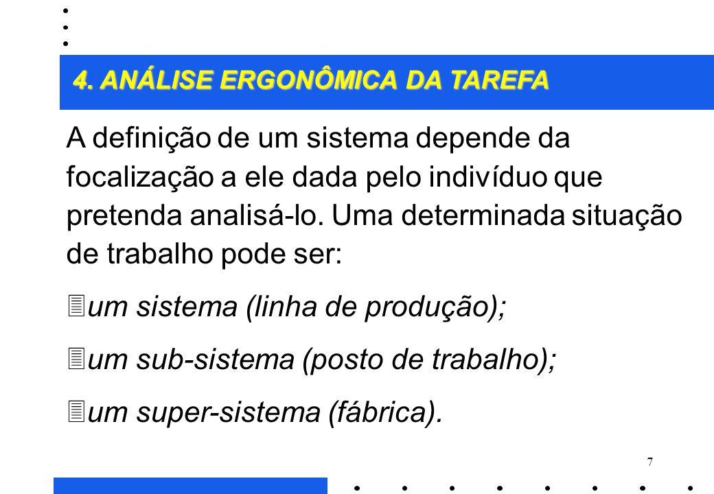 um sistema (linha de produção); um sub-sistema (posto de trabalho);