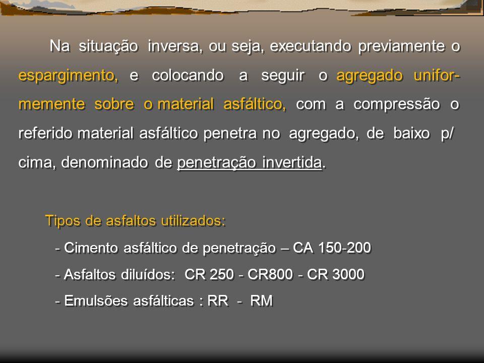 Na situação inversa, ou seja, executando previamente o espargimento, e colocando a seguir o agregado unifor-memente sobre o material asfáltico, com a compressão o referido material asfáltico penetra no agregado, de baixo p/ cima, denominado de penetração invertida.
