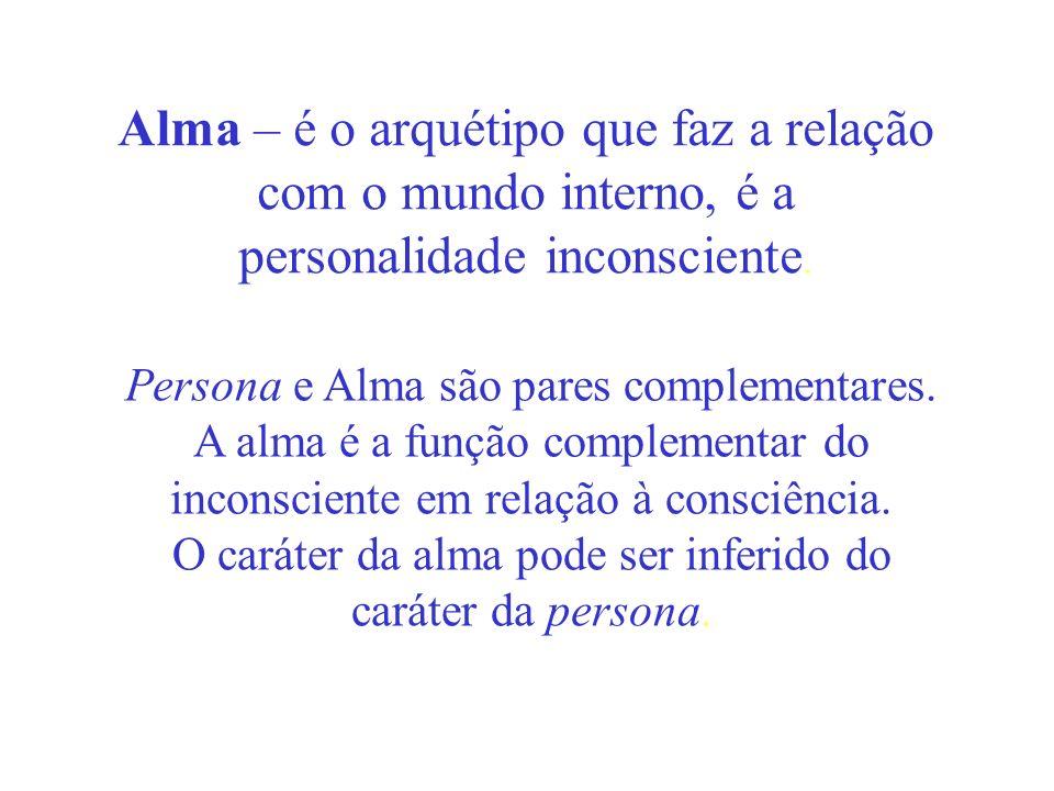 Alma – é o arquétipo que faz a relação com o mundo interno, é a personalidade inconsciente.