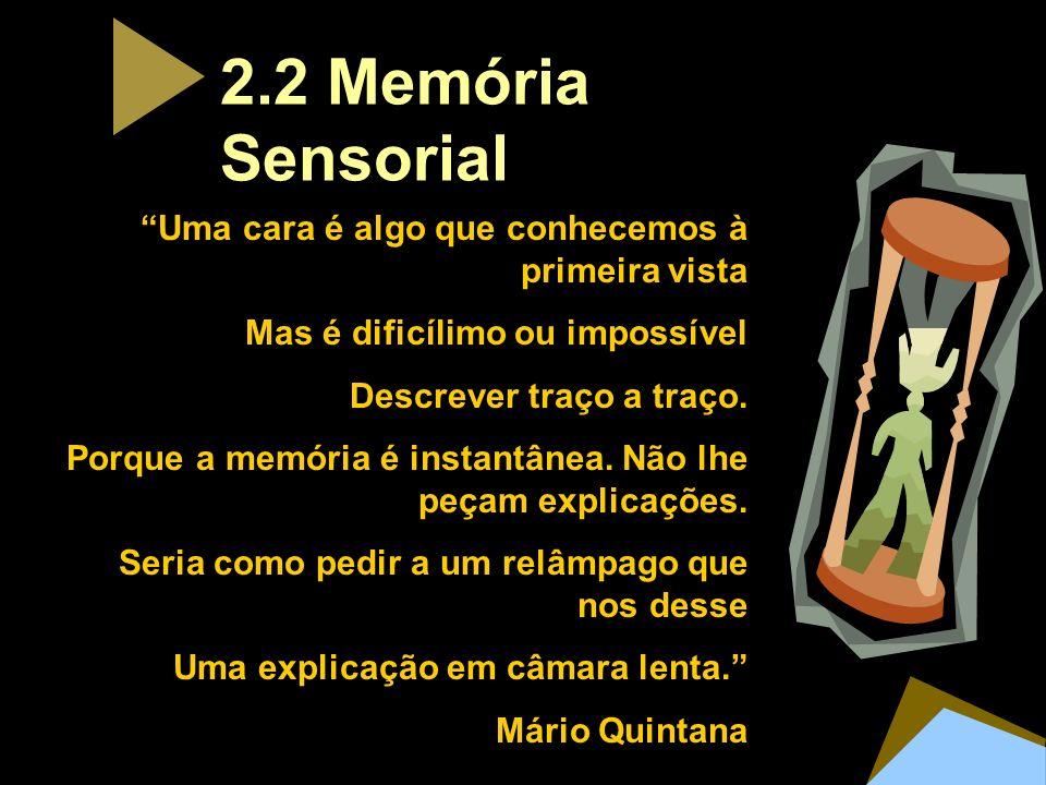 2.2 Memória Sensorial Uma cara é algo que conhecemos à primeira vista
