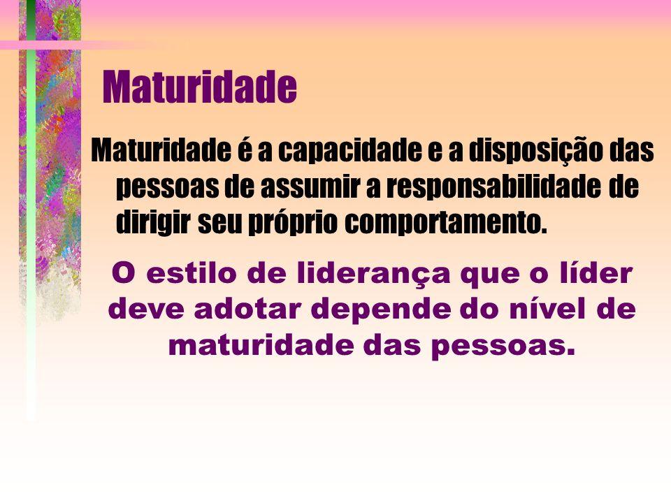 Maturidade Maturidade é a capacidade e a disposição das pessoas de assumir a responsabilidade de dirigir seu próprio comportamento.
