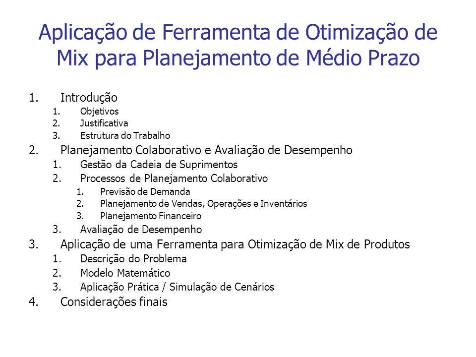 Aplicação de Ferramenta de Otimização de Mix para Planejamento de Médio Prazo