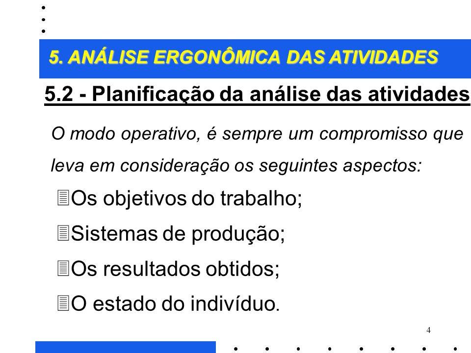 5.2 - Planificação da análise das atividades