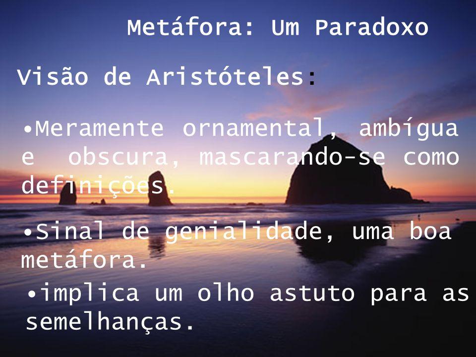 Metáfora: Um ParadoxoVisão de Aristóteles: Meramente ornamental, ambígua e obscura, mascarando-se como definições.