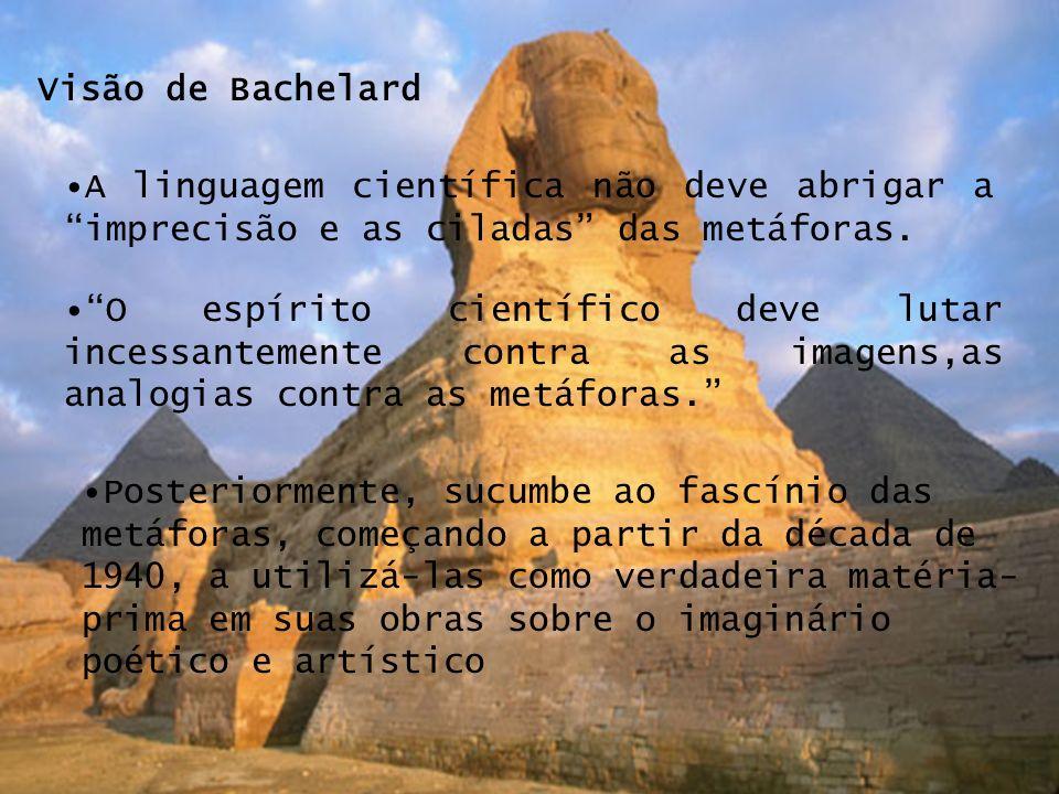 Visão de BachelardA linguagem científica não deve abrigar a imprecisão e as ciladas das metáforas.