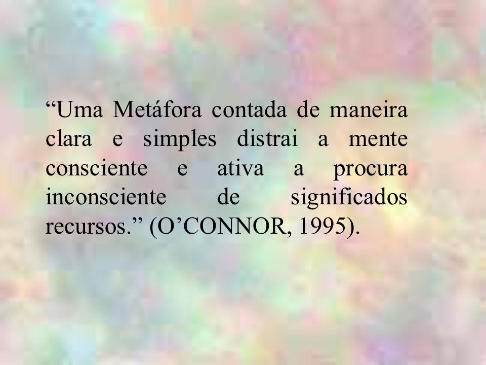 Uma Metáfora contada de maneira clara e simples distrai a mente consciente e ativa a procura inconsciente de significados recursos. (O'CONNOR, 1995).