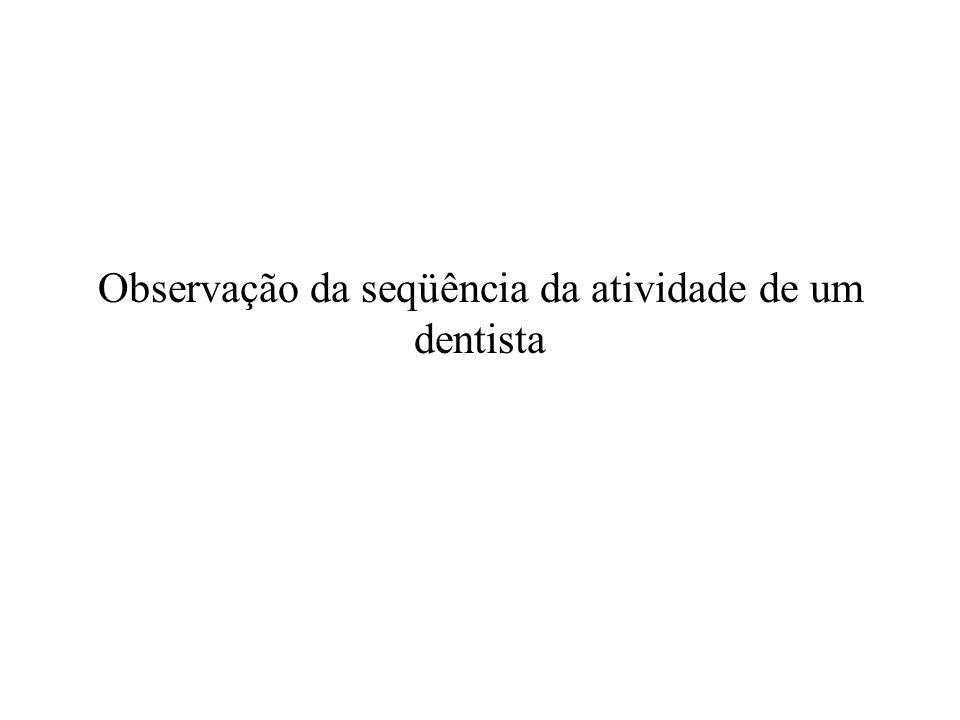 Observação da seqüência da atividade de um dentista