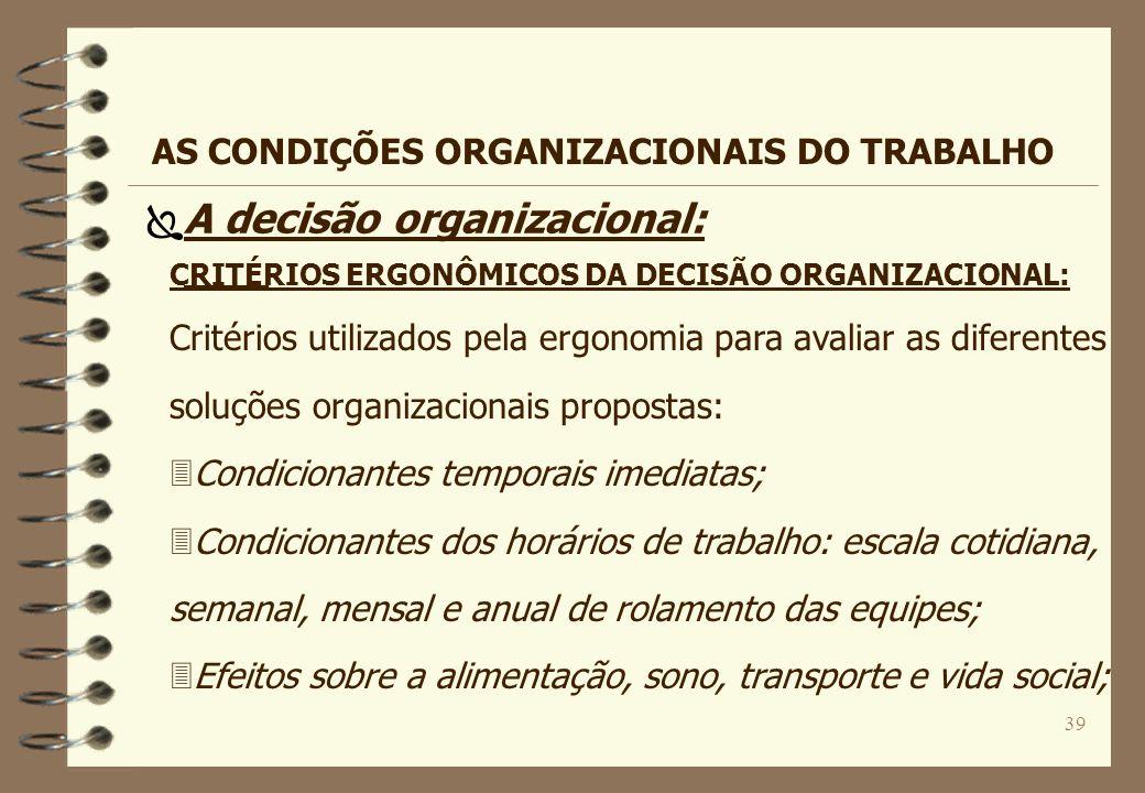 A decisão organizacional: