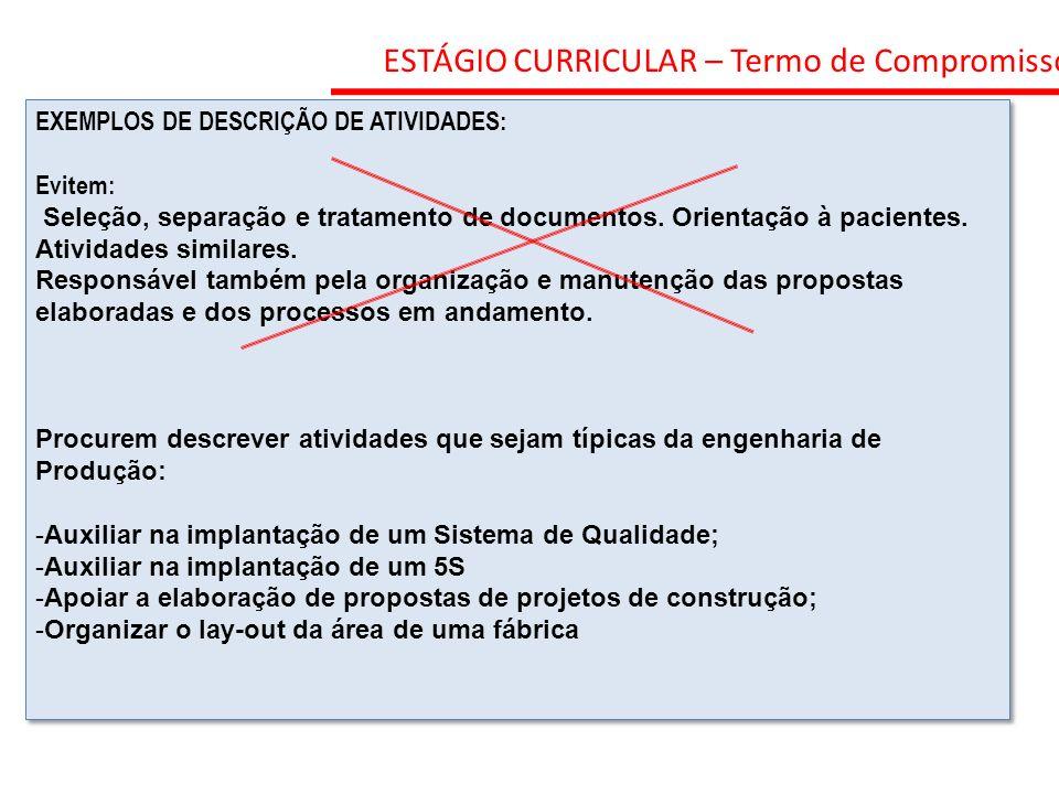 ESTÁGIO CURRICULAR – Termo de Compromisso