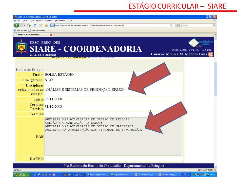 ESTÁGIO CURRICULAR – SIARE