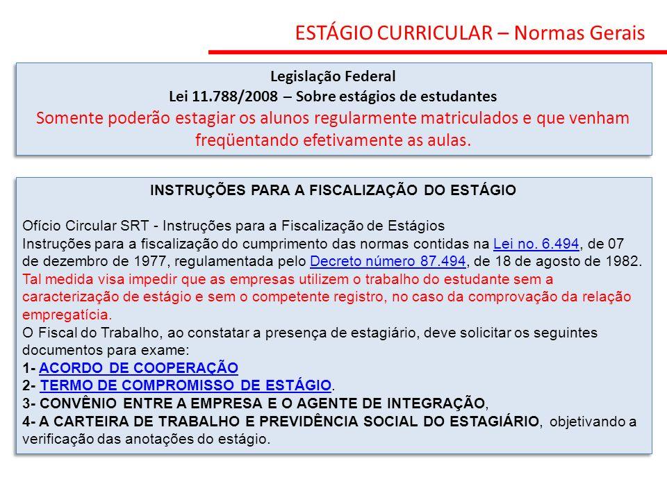 ESTÁGIO CURRICULAR – Normas Gerais