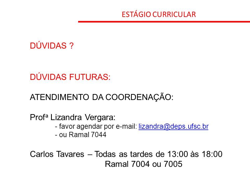 ATENDIMENTO DA COORDENAÇÃO: Profa Lizandra Vergara: