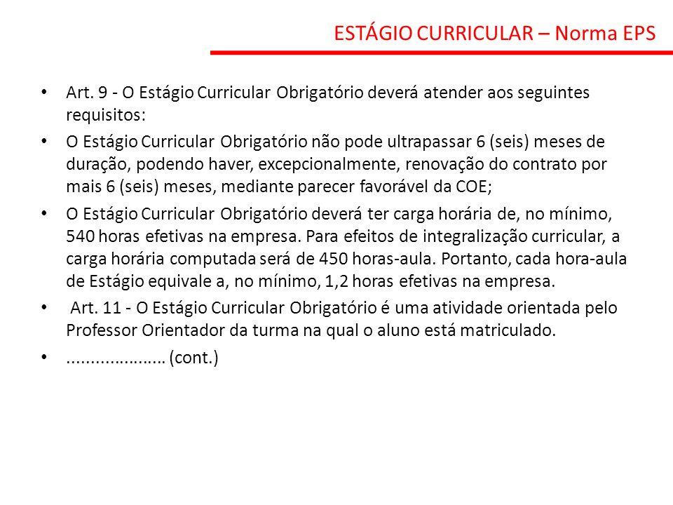 ESTÁGIO CURRICULAR – Norma EPS