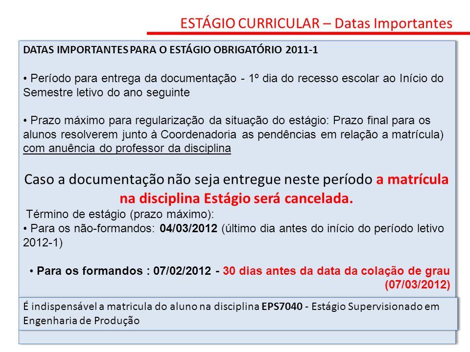 ESTÁGIO CURRICULAR – Datas Importantes