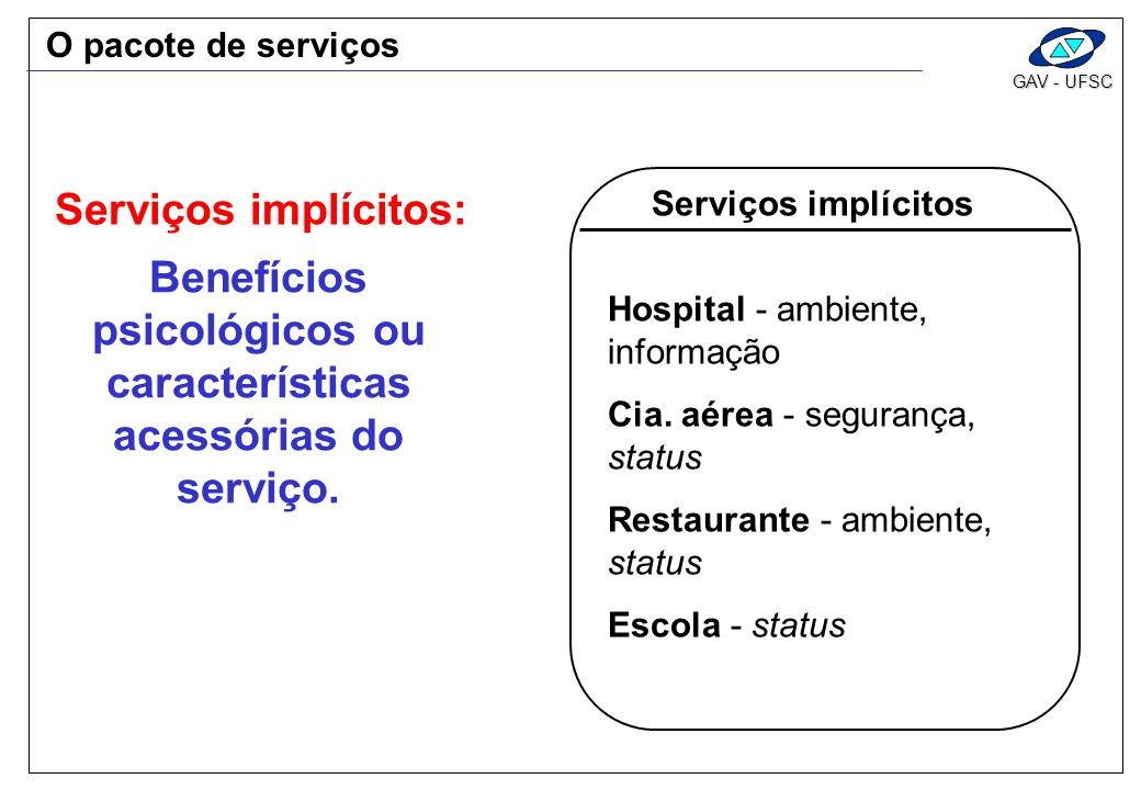 Benefícios psicológicos ou características acessórias do serviço.