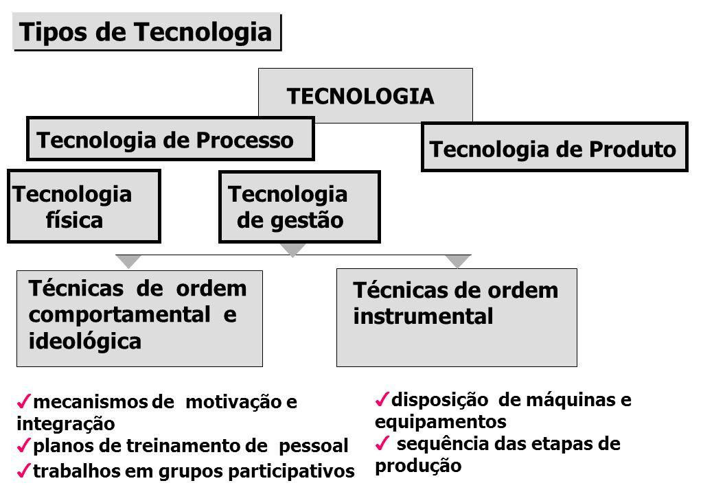 Tipos de Tecnologia TECNOLOGIA Tecnologia de Processo