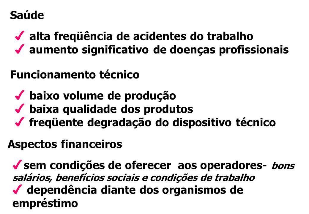 Saúde alta freqüência de acidentes do trabalho. aumento significativo de doenças profissionais. Funcionamento técnico.