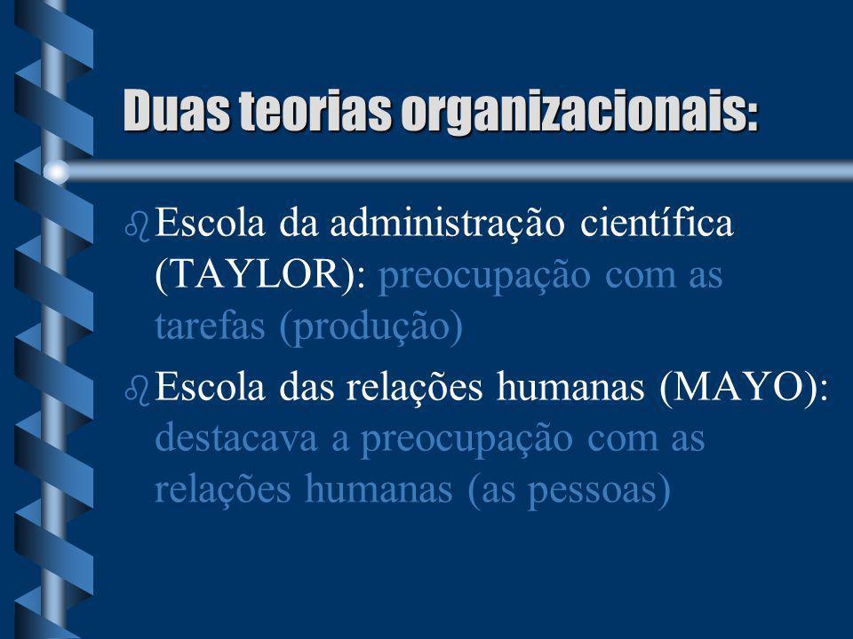 Duas teorias organizacionais: