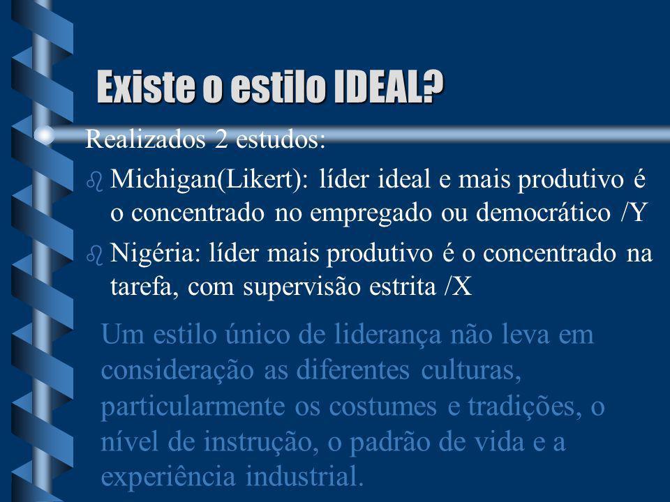 Existe o estilo IDEAL Realizados 2 estudos: Michigan(Likert): líder ideal e mais produtivo é o concentrado no empregado ou democrático /Y.