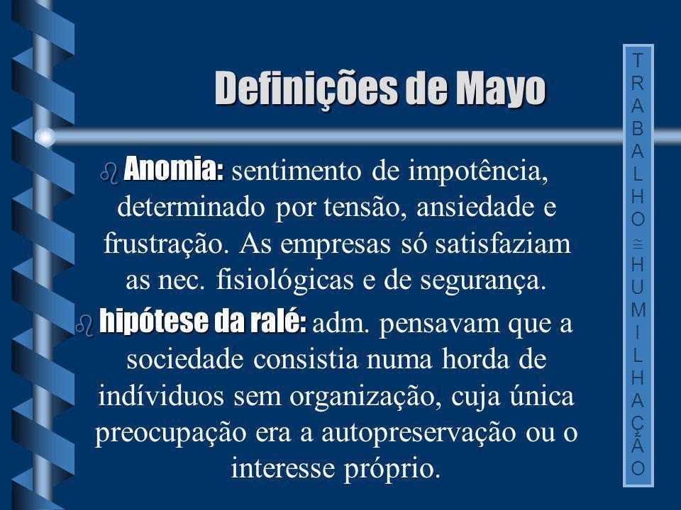 Definições de Mayo TRABALHO.  HUMILHAÇÃO.