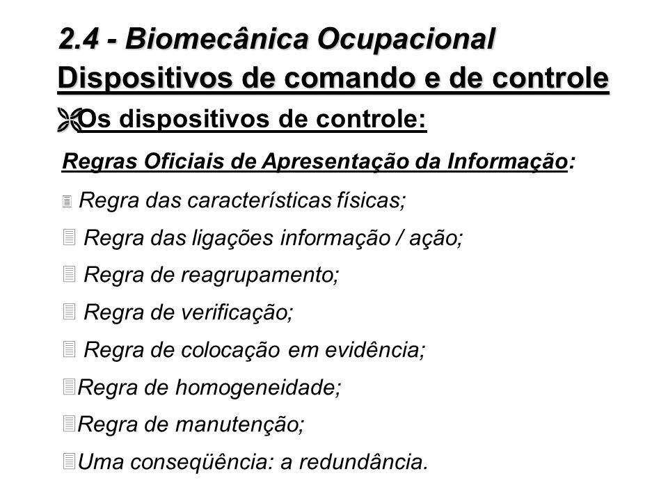 2.4 - Biomecânica Ocupacional Dispositivos de comando e de controle