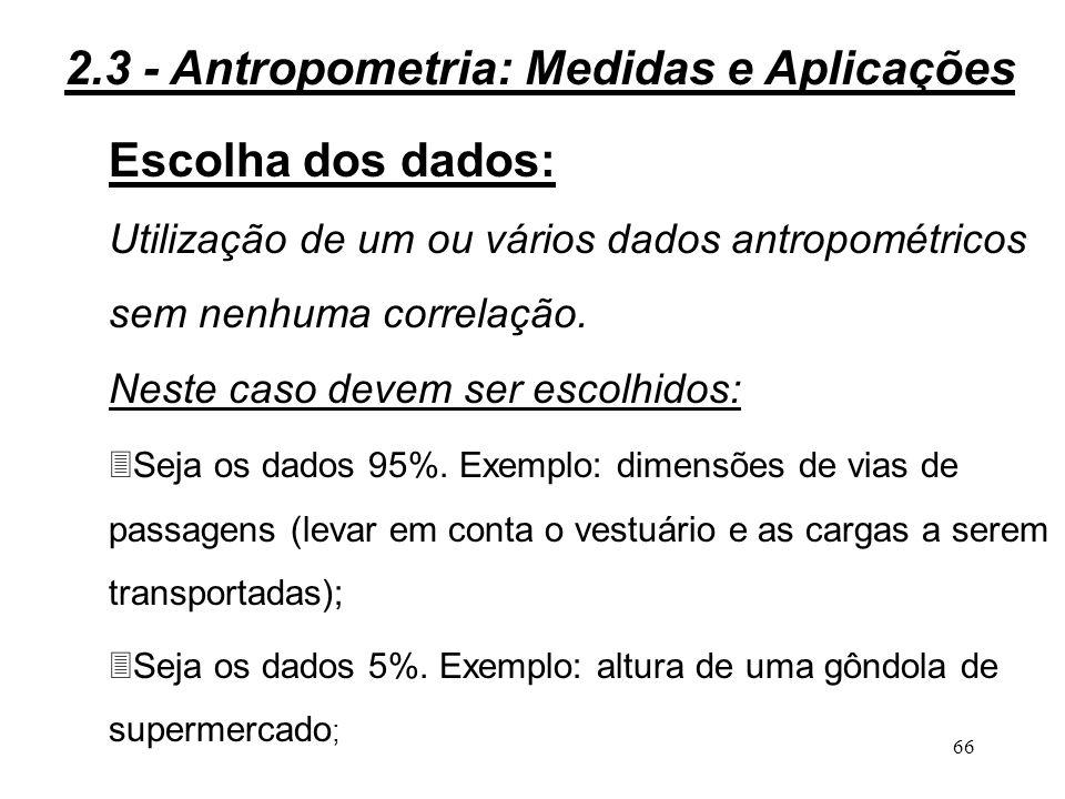 2.3 - Antropometria: Medidas e Aplicações Escolha dos dados: