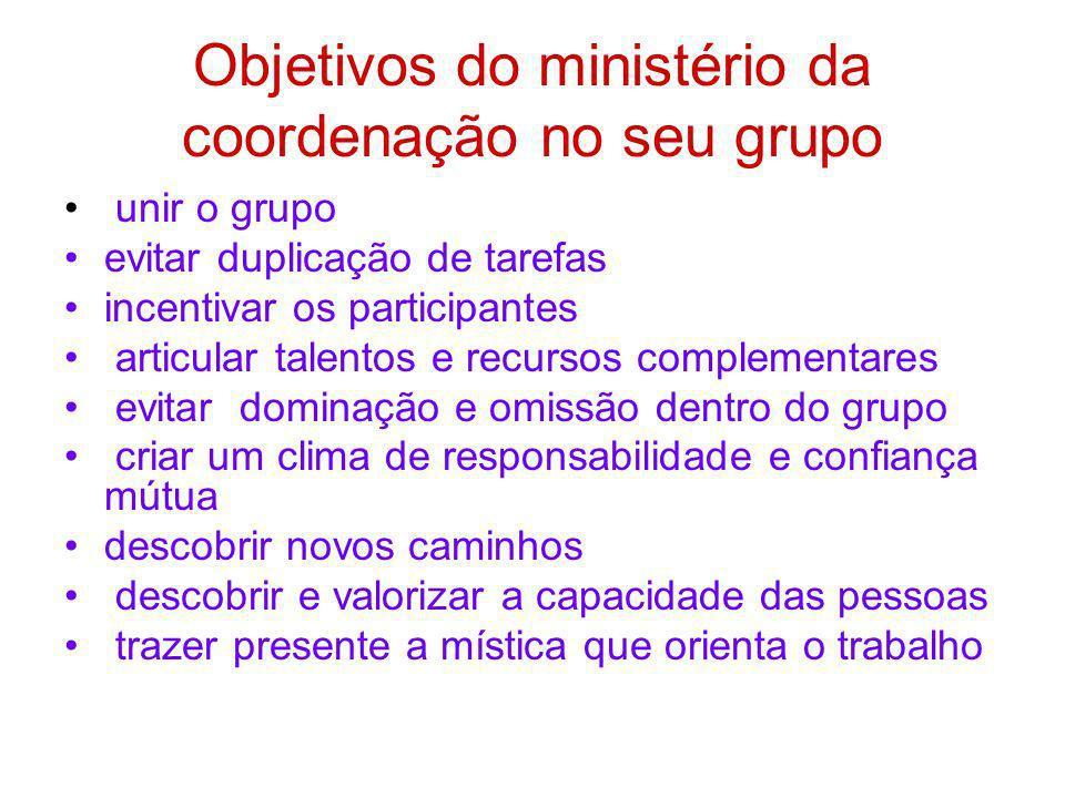 Objetivos do ministério da coordenação no seu grupo