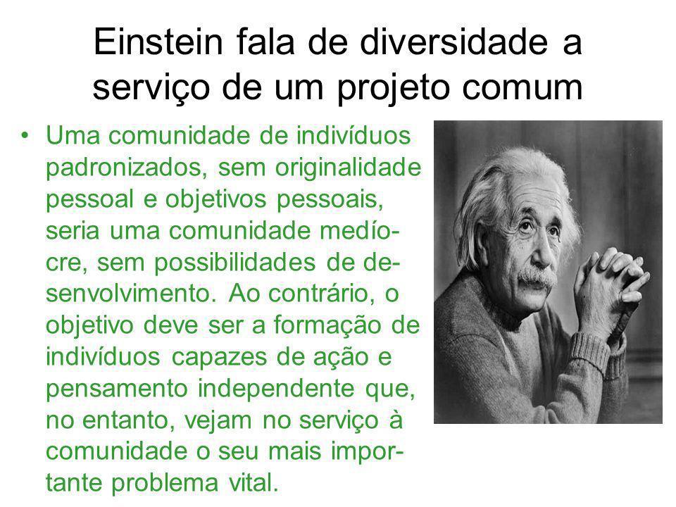 Einstein fala de diversidade a serviço de um projeto comum