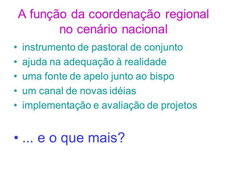 A função da coordenação regional no cenário nacional
