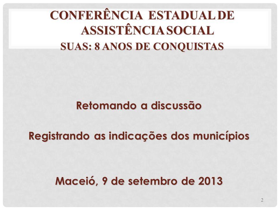 CONFERÊNCIA ESTADUAL DE ASSISTÊNCIA SOCIAL SUAS: 8 ANOS DE CONQUISTAS