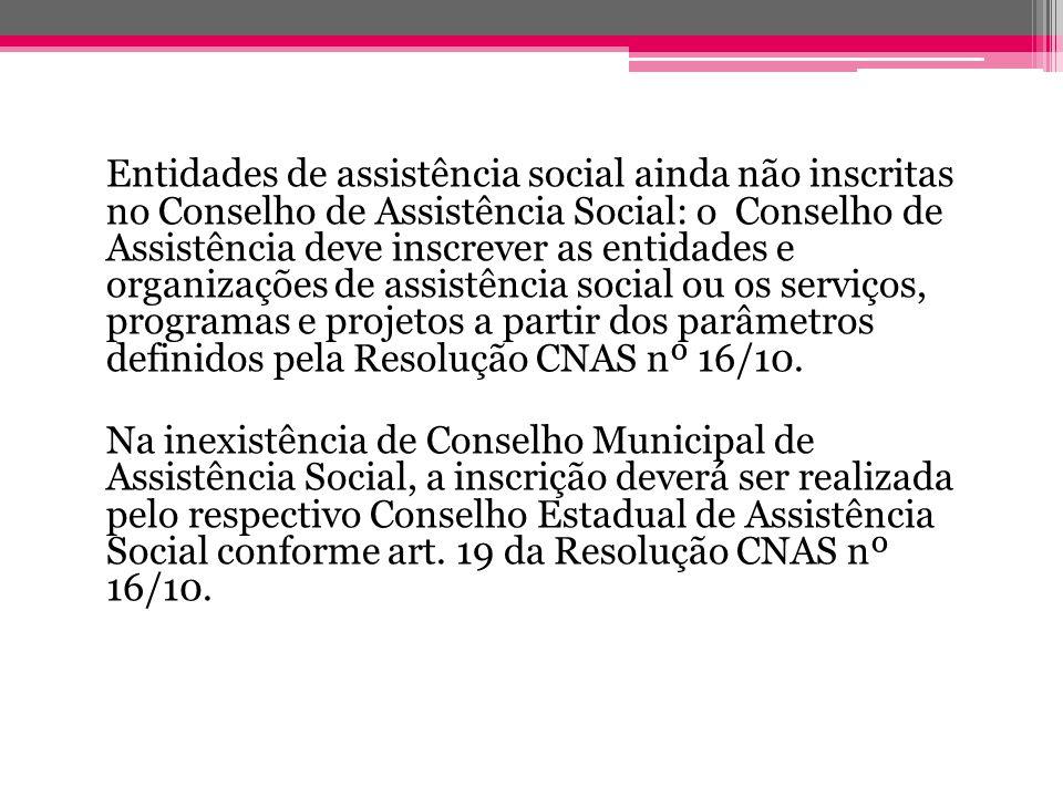 Entidades de assistência social ainda não inscritas no Conselho de Assistência Social: o Conselho de Assistência deve inscrever as entidades e organizações de assistência social ou os serviços, programas e projetos a partir dos parâmetros definidos pela Resolução CNAS nº 16/10.