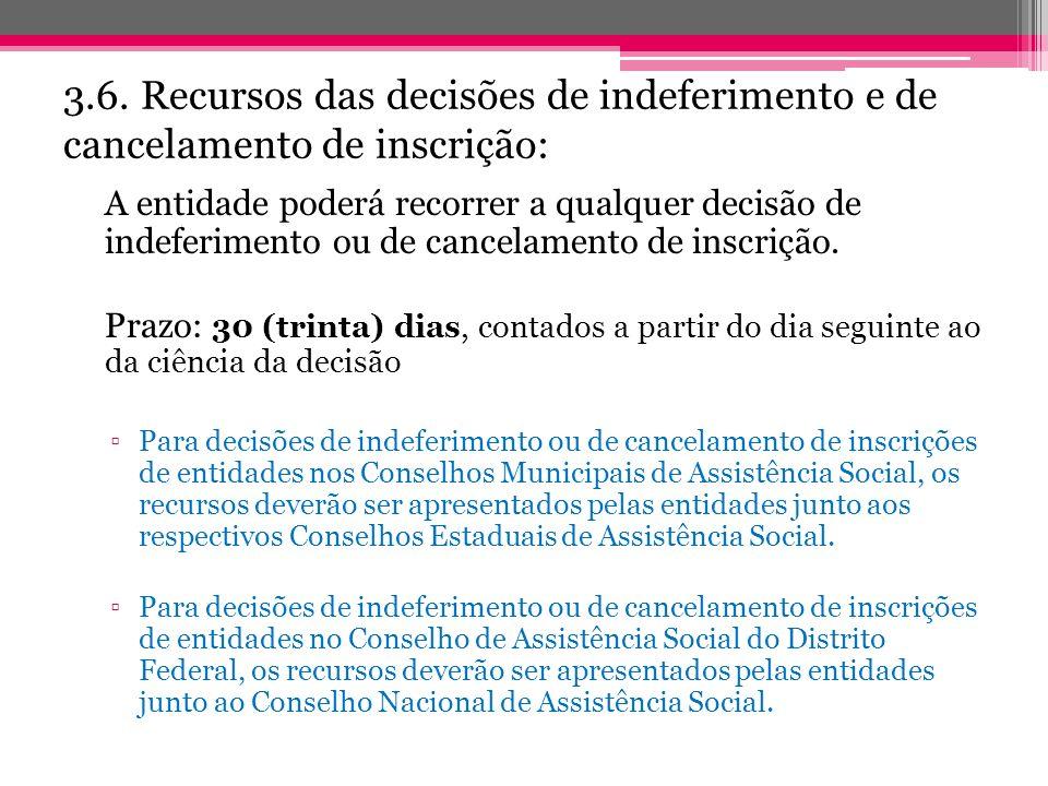 3.6. Recursos das decisões de indeferimento e de cancelamento de inscrição: